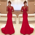 Elegant Red Sleeveless V Neck Floor Length Embellished Evening Dress