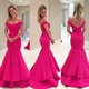 Elegant Hot Pink Off The Shoulder Mermaid Evening Gown With Open Back