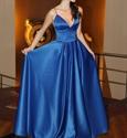 Elegant Spaghetti Strap A-Line Floor Length Ball Gown Evening Dress