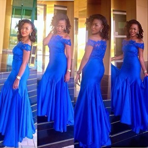 Royal Blue Off-The-Shoulder Lace Top  Floor Length Mermaid Prom Dress