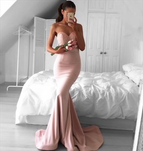 Light Pink Strapless Sweetheart Lace Bodice Mermaid Bridesmaid Dress
