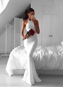 Simple White Halter Floor Length Mermaid Chiffon Dress With Open Back