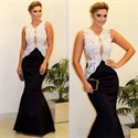 Elegant Sleeveless White Lace Bodice Black Bottom Mermaid Prom Dress