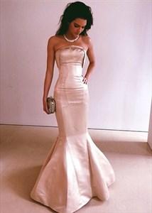 Simple Light Pink Strapless Floor Length Sheath Mermaid Evening Dress
