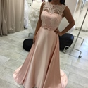 Light Pink Sleeveless Illusion Lace Bodice A Line Long Evening Dress