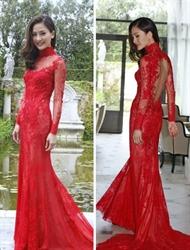 Red Illusion Long Sleeve High Neck Keyhole Back Lace Long Prom Dress