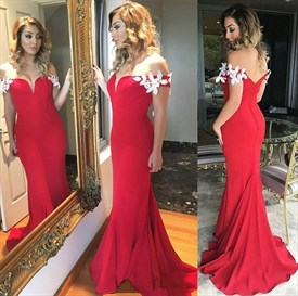 Red Off The Shoulder Applique Embellished Mermaid Chiffon Prom Dress