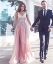 Elegant Pink Sleeveless Lace Applique Bodice Chiffon Long Prom Dress