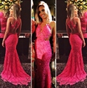 Hot Pink Illusion Sleeveless Backless Lace Applique Mermaid Prom Dress