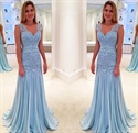 Light Blue Sleeveless Lace Bodice Dropped Waist Ruched Chiffon Dress