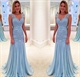 Light Blue Sleeveless Lace Bodice Dropped Waist Ruched Chiffon Dress