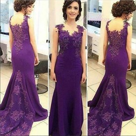 Violet Sleeveless Mermaid Prom Dress With Applique Beaded Embellished