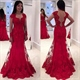 Red Lace Embellished Tulle Mermaid Prom Dress With Sheer Long Sleeve