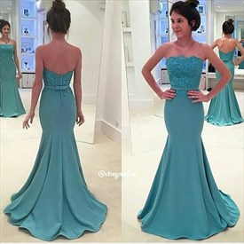 Floor Length Strapless Sheath Mermaid Evening Dress With Lace Bodice