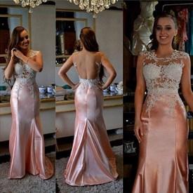 Sleeveless Illusion Beaded Bodice Mermaid Prom Dress With Open Back