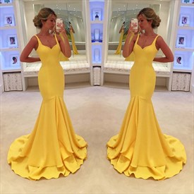 Simple Yellow Sleeveless Dropped Waist Mermaid Prom Dress With Straps