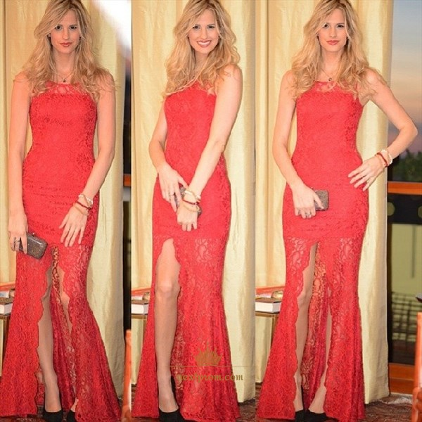 Red Sleeveless Lace Overlay Sheath Long Prom Dresses With Front Slit
