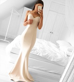 Simple Ivory Spaghetti Strap Sweetheart Neck Mermaid Bridesmaid Dress