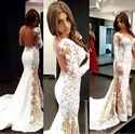 White Long Sleeve Lace Applique Embellished Sheer Back Mermaid Dress