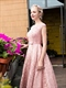 Vintage Pink Cap Sleeve Tea Length Homecoming Dress With Lace Overlay