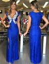 Royal Blue V Neck Cap Sleeve Lace Applique Long Prom Dress With Slit