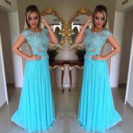 Sky Blue Cap Sleeve Chiffon Long Prom Dress With Lace Beaded Bodice