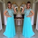 Sky Blue Cap Sleeve Chiffon Long Prom Dress With Lace Beaded Bodice