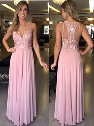 Pink Illusion Sleeveless V Neck Lace Bodice Chiffon Long Prom Dress