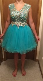 Blue Knee Length Sleeveless V-Neck Homecoming Dress With Beaded Bodice