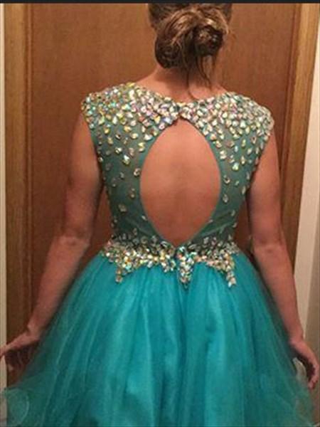 Blue Knee Length Sleeveless V-Neck Homecoming Dress With Beaded Bodice