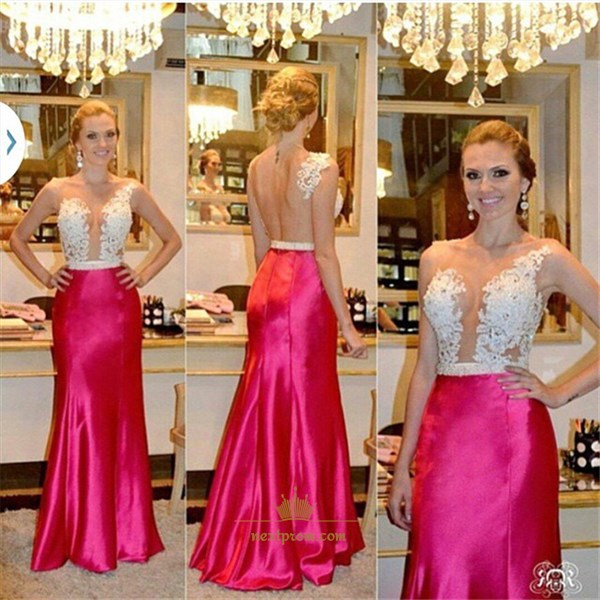 Fuchsia Sleeveless Lace Bodice Backless Prom Dress With Sheer Neckline