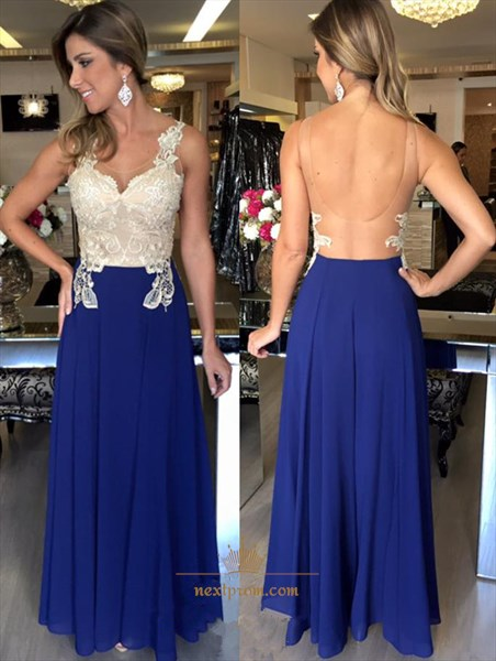 Sleeveless Lace Embellished A Line Chiffon Prom Dress With Open Back