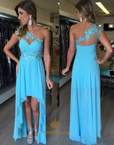 One Shoulder Chiffon High Low Evening Dress With Applique Embellished