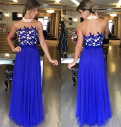 Royal Blue Beaded Halter Embellished Chiffon Floor Length Prom Dress