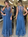 Illusion Sleeveless Lace Embellished Tulle Floor Length Evening Dress