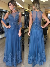 Illusion Sleeveless Lace Embellished Tulle Floor Length Evening Dress