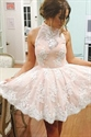 Light Pink Halter Lace Embellished Keyhole Back Short Homecoming Dress