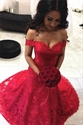 Elegant Red Off The Shoulder Floor Length Lace Overlay Mermaid Dress