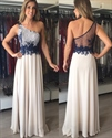 Ivory One Shoulder Sheer Back Chiffon Prom Dress With Lace Embellished