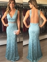 Floor Length Sleeveless V-Neck Lace Mermaid Prom Dress With Sheer Back