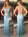 Floor Length Sleeveless V-Neck Lace Mermaid Prom Dress With Sheer Back