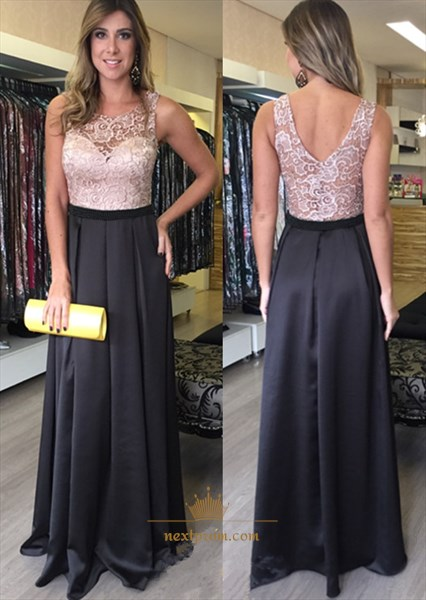 Simple Floor Length Sleeveless Two Tone Evening Dress With Lace Bodice