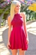 Lovely Fuchsia Halter Lace Bodice Knee Length Chiffon Homecoming Dress
