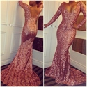 Simple Pink Long Sleeve Sequin Sheath Mermaid Floor Length Prom Dress