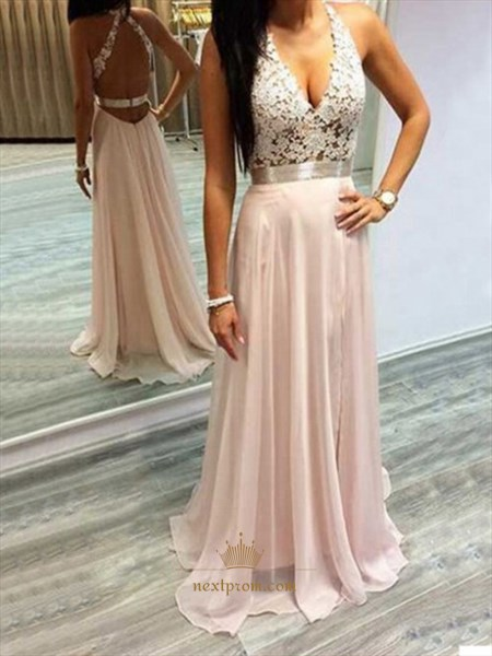 Light Pink Sleeveless V-Neck Lace Bodice Backless Chiffon Long Dress