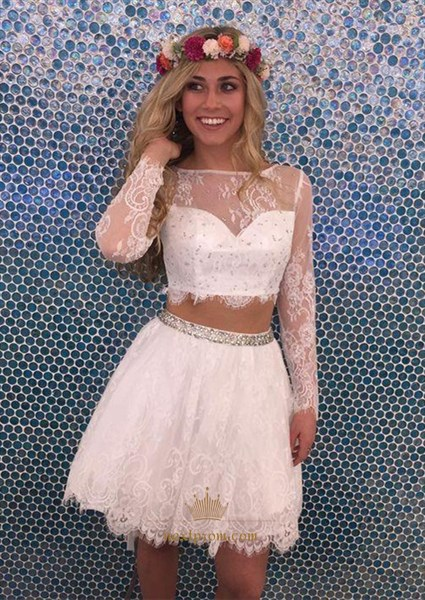 Knee Length Lace Two Piece Homecoming Dress With Illusion Long Sleeve