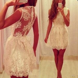 White Sleeveless Lace Overlay Homecoming Mini Dress With Illusion Back