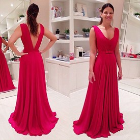Simple Red Sleeveless V-Neck Chiffon Long Evening Dress With Open Back