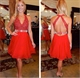 Cute Red Halter V Neck Beaded Bodice Open Back Short Homecoming Dress