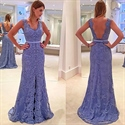 Lavender Sleeveless Backless Lace Overlay Floor Length Evening Dress